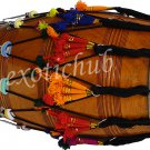 NEW PUNJABI BHANGRA DHOL DRUM~MANGO WOOD~WITH PLAYING STICKS AND DECORATION PART