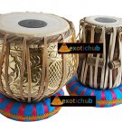 PRO GOLDEN BRASS TABLA DRUM SET~FULL DESIGNER~CAN PLAY WITH SITAR, TANPURA, HARP
