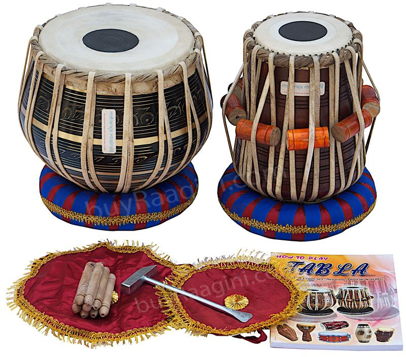 MAHARAJA� TABLA DRUM SET/3KG BLACK BRASS BAYAN/SHEESHAM DAYAN/BAG/BOOK/BOX/EA-2