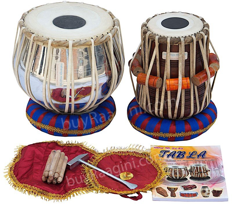 TABLA SET MAHARAJA� CLASSIC/BRASS BAYAN 3KG/SHEESHAM DAYAN/CUSHIONS/USA RTN/CG
