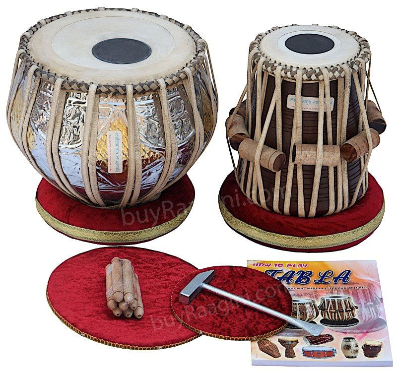 TABLA SET/TWIN-COLOR BRASS/MAHARAJA�/3KG/SHEESHAM DAYAN/ACCS./FREE SHIPPING/FD