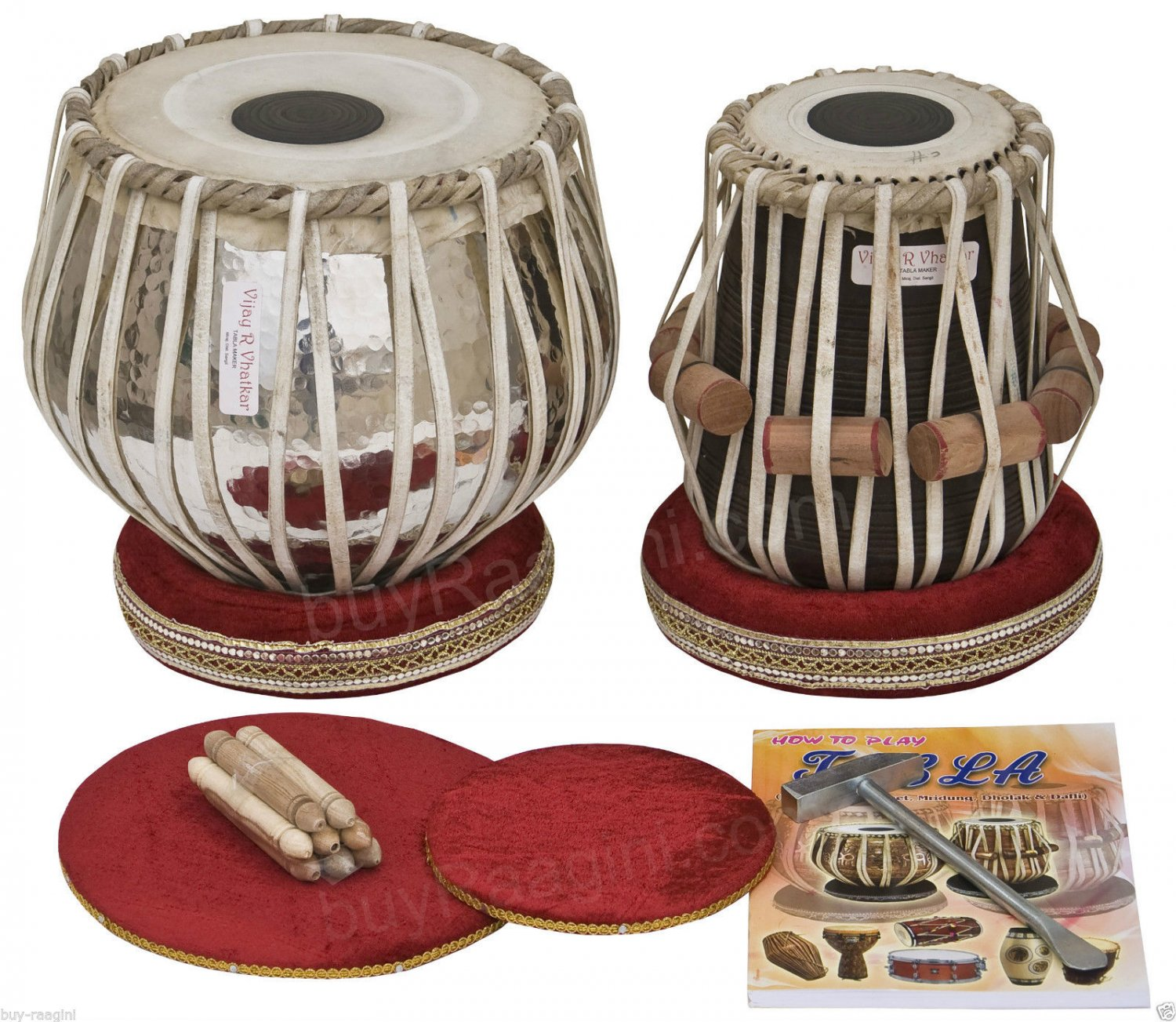 TABLA SET/VHATKAR�/CONCERT CHROMED COPPER BAYAN 4KG/BLACK SHEESHAM DAYAN/BBD-1