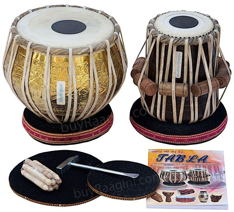 TABLA SET DELHI MAHARAJA�/PRO GOLDEN BRASS BAYAN 3.5KG/SHEESHAM DAYAN/BAG/BHB-2