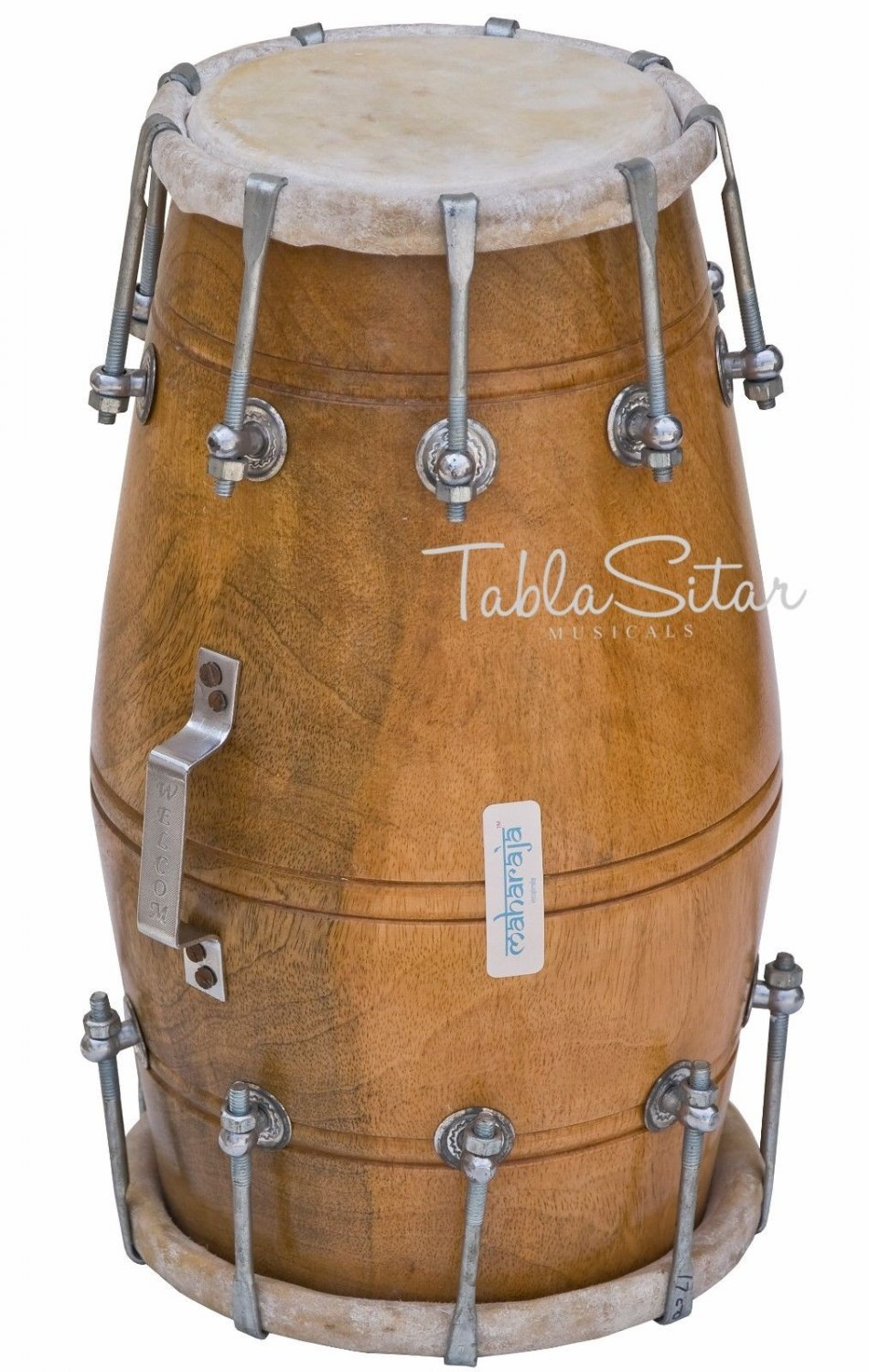 BUY MAHARAJA� INDIAN DHOLKI/DHOLAK/NATURAL COLOR/MANGO WOOD/BOLT TUNED/BAG/AJD-2