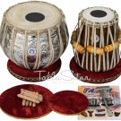 TABLA DRUM SET/MAHARAJA™ GULAB FLOWER DESIGN BRASS BAYAN 3.5KG/SHISHAM DAYAN/CEJ