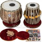 TABLA SET MAHARAJA™/GANEESHA FLOWER DESIGN COPPER BAYAN 3.5KG/SHEESHAM DAYAN/CHA