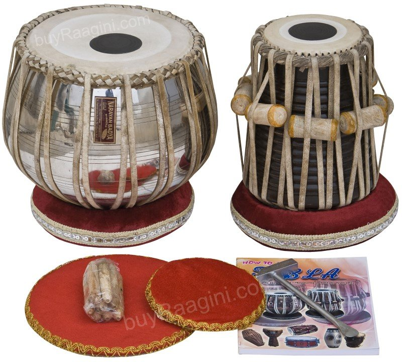TABLA SET SHYAMAL DAS/FLORAL COPPER BAYAN 3.5KG/SHEESHAM DAYAN/BOOK/HAMMER/ECG-2