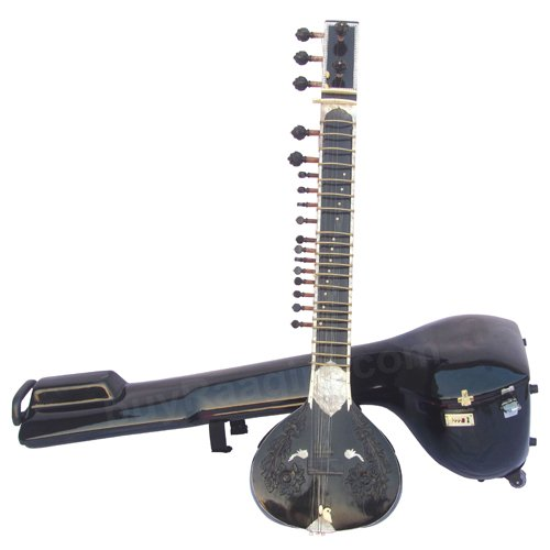 SITAR MAHARAJA� SITAR/KHARAJ PANCHAM/HALF DECORATED/TUN WOOD/BLACK/BOOK/AID-01