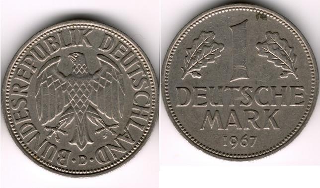 1967-D 1 Deutsche Mark XF