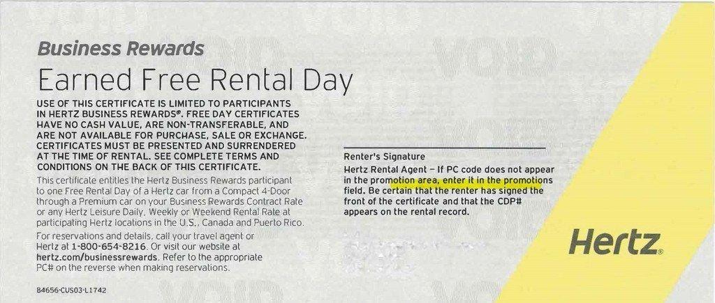 Hertz Car Rental Free Day Coupon / Certificates / Voucher Expires 07/31/17