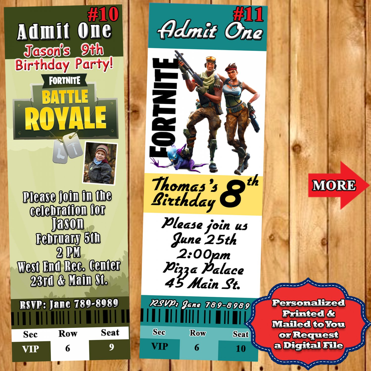 Fortnite Birthday Invitations 10 Ea Personalized Custom Made
