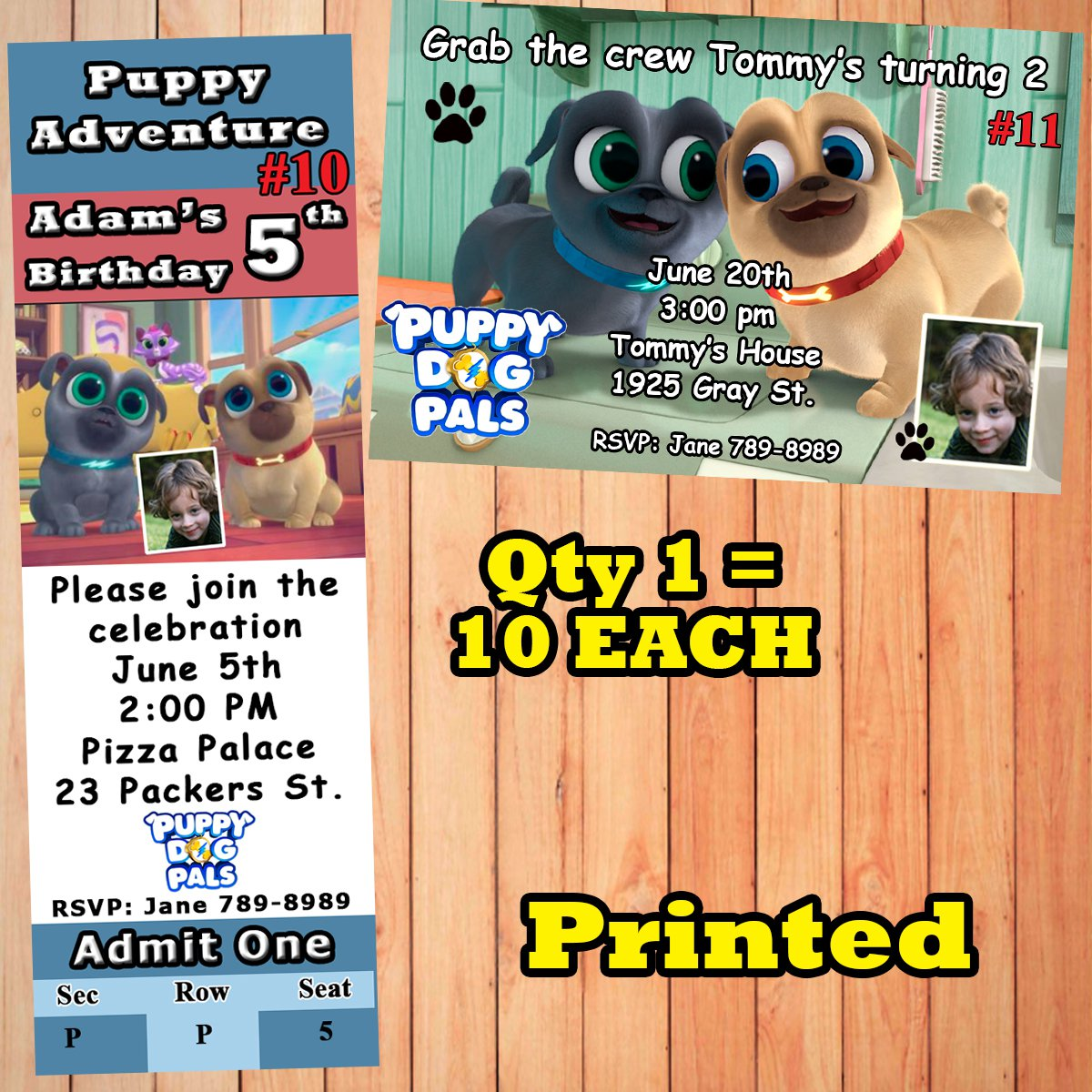 Puppy Dog Pals Birthday Invitations 10 Ea Personalized Custom Made