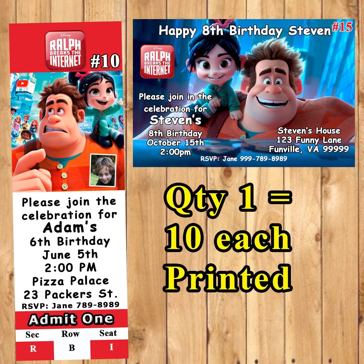 Ralph Breaks The Internet Birthday Invitations 10 Ea Personalized Custom Made