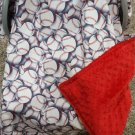 Baseball/Red Minky Carseat Canopy