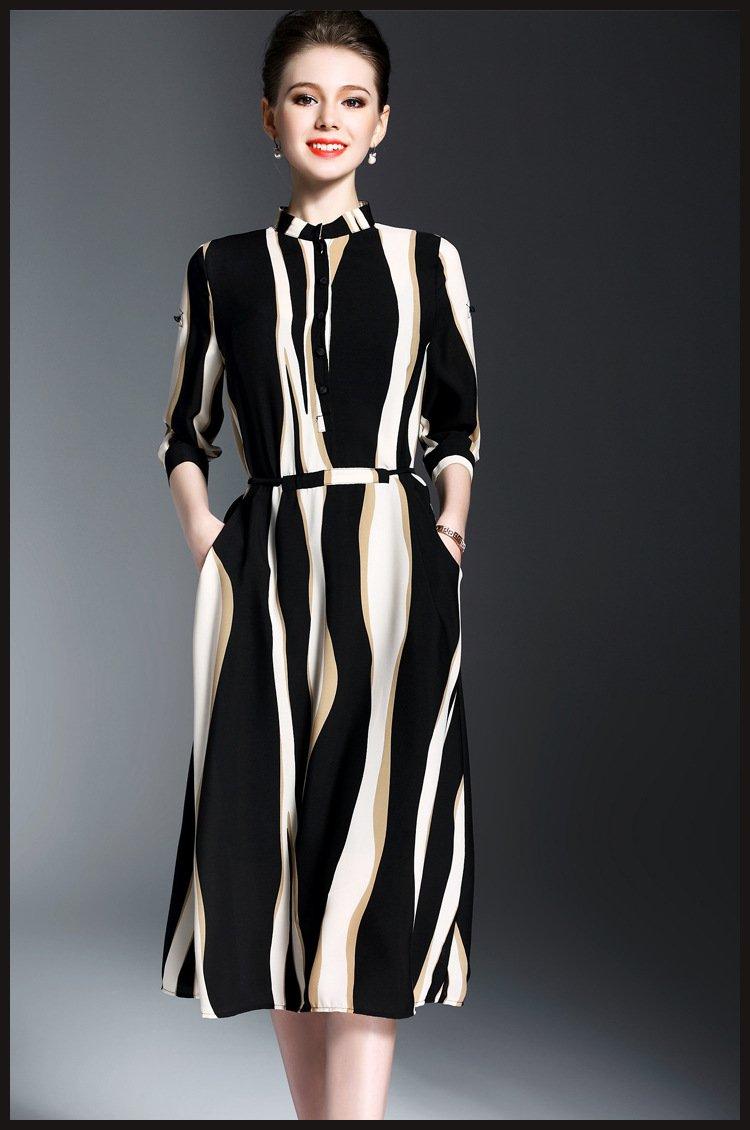 Spring Summer Vestidos Striped Slim Print Midi Casual Runway Dress For Women