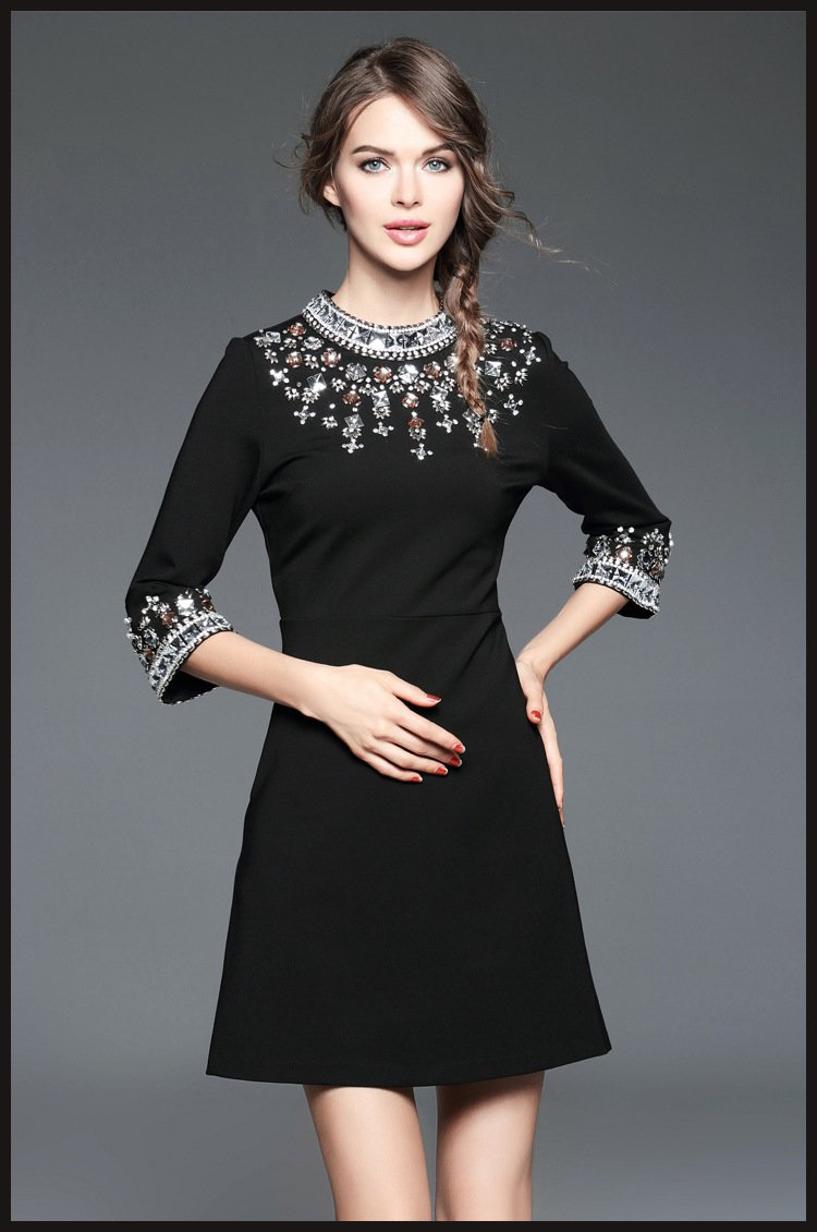 2017 Fashion Womens Clothing Summer Black Beaded Cotton Mini Party Dress Vestidos