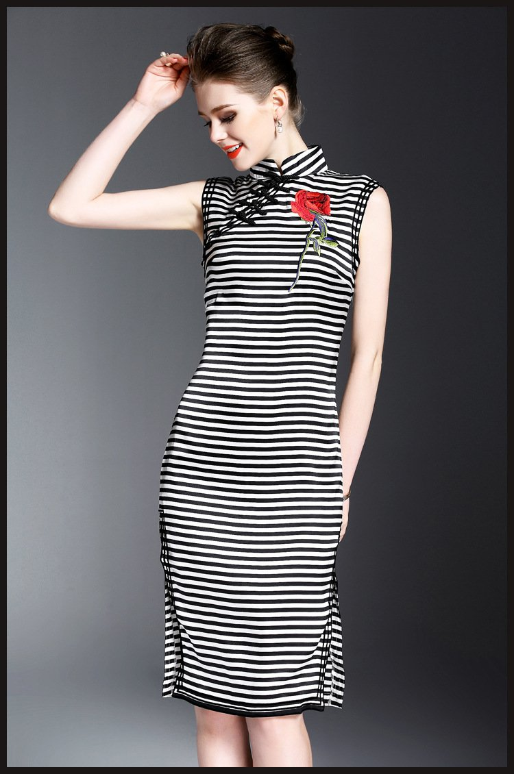 2017 New Women Spring Summer Striped Rose Embroidery Silk Sleeveless Midi Dress