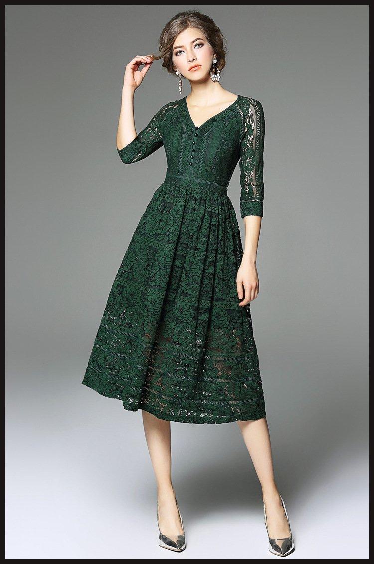 Fashion Women Summer Plus Size V-neck Lace Midi Evening Party Dress