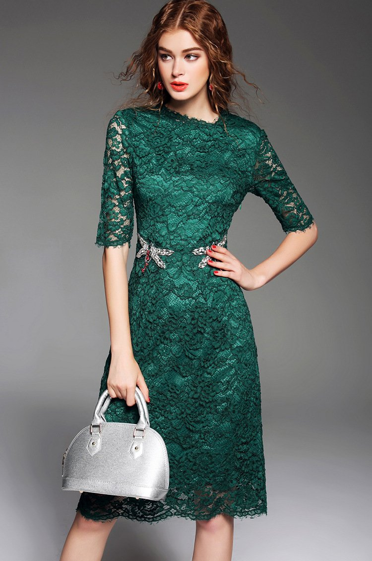 Fashion Women Summer Dresses O Neck Solid Dragonfly Beaded Lace Midi Dress