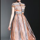 Fashion Women Vestidos 2017 Spring Summer Striped Silk Print Midi Party Dresses