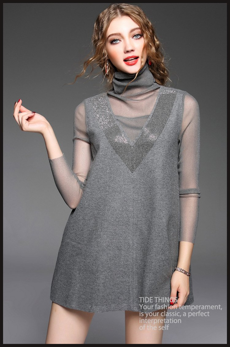 High Quality Fashion Women Summer Mesh Patchwork Long Sleeve Mini Runway Evening Party Dress