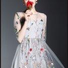 Women Elegant Summer Embroidery Mesh Half Sleeve Boho Long Runway Evening Party Midi Dress