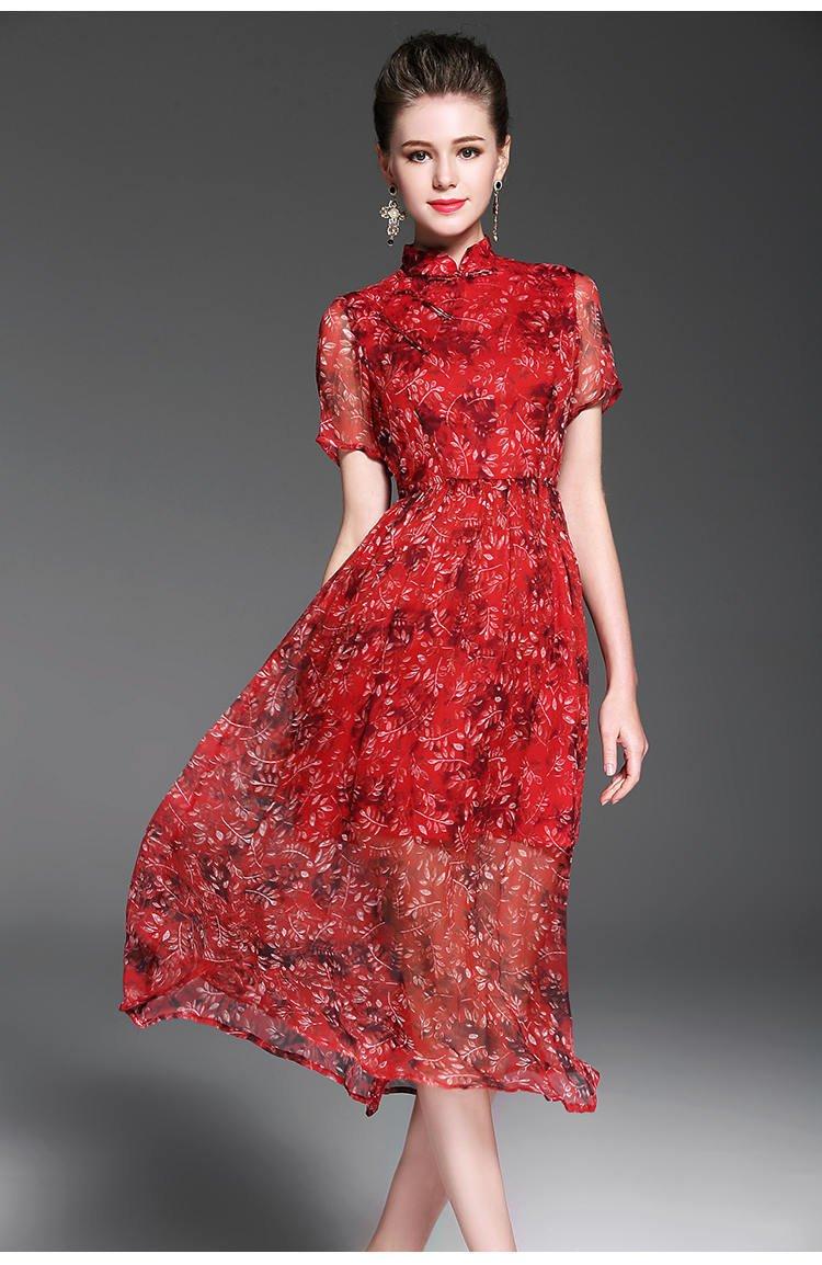 Red dress/formal dress/silk dress/midi dress/ boho dress/women summer dress/print dresses