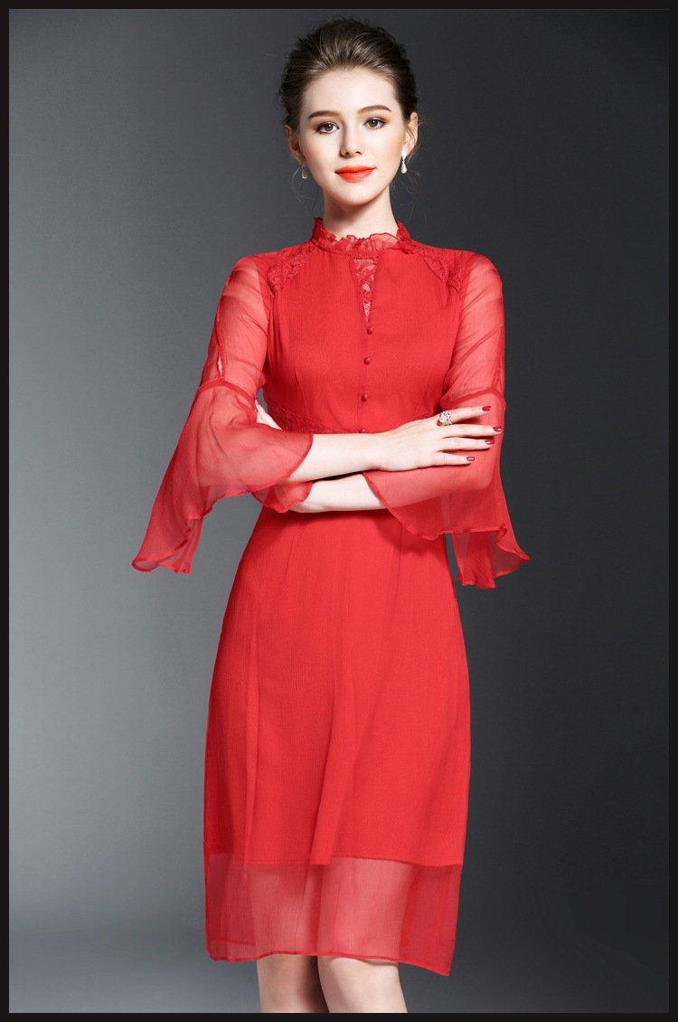 women clothing/summer dress/red dress/lace dress/evening dress/beach dress/silk dress/midi dress
