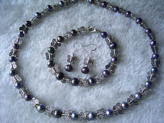 Black pearl-butterfly Jewelry Set