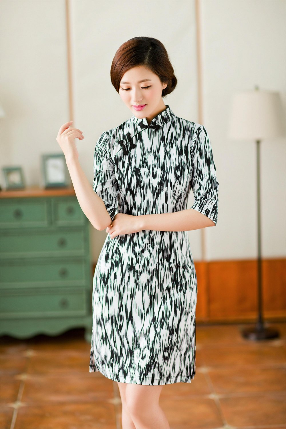 2 FOR 1 CLOTHES 3/4 Sleeve Printed Jersey Dress Qipao XS,S,M,L