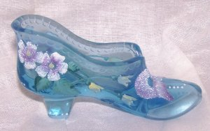 Fenton Collectible Blue Decorated Shoe