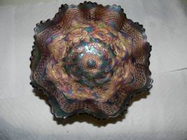 Fenton Two Flowers Carnival Glass Bowl
