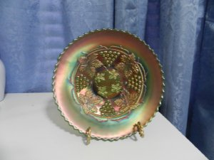 Northwood Green Footed Carnival Glass Plate