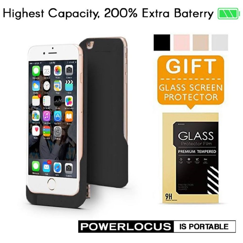 Power Case for iPhone 6 6S 6800mAh Battery Case External Portable Charging Case (Black)