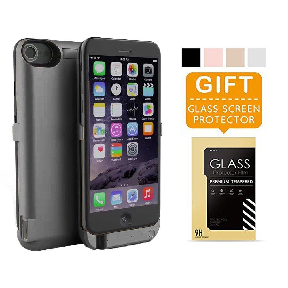iPhone 6 Battery Case Pack, Charging Case 6800mAh - External Battery Back up Black Matte