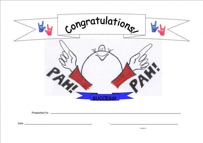 Pah! Success Congratulations Certificate 10-pack