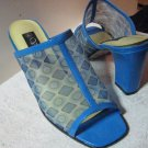 Blue Mules leather and fabric Shoes for any occasion! SIZE 8M