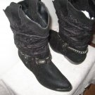 Short Black Cowboy boots  low heet for any occasion! SIZE 7 1/5