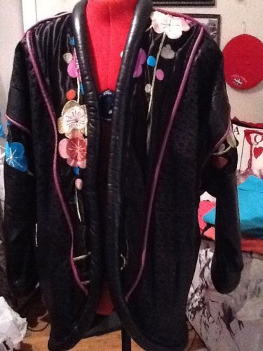 BLACK LEATHER Jacket Cocoon style with floral design on front and back  size med