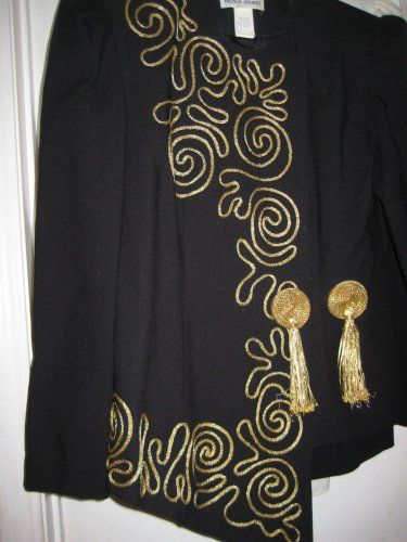 BLACK Jacket and Skirt w/GOLD design BOTH PIECES SIZE 10