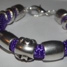 Purple Bracelet made w/ Climbing Rope, silver colored Lobster closure 7 1/2""