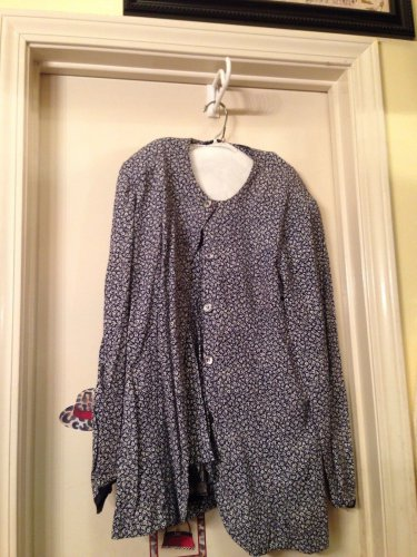 Floral Navy Blue Jacket & skirt w/same design jacket with 4 button jacket