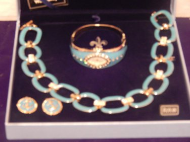 """Bella DEl Mar Signature Turquoise Necklace 12"""" Beauty,Chain & No Metal WATCH Set"""