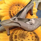 Gray colored Sling back heels w/bling on front  for any occassion! sIZE 7.5