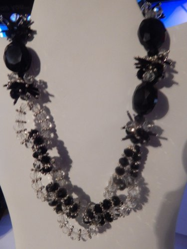 Custom Handmade translucent BLACK AND CLEAR  w/ SILVER BEADS Necklace