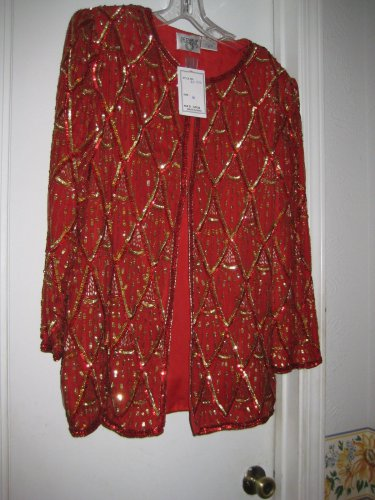 RED & GOLD Sequin and bejeweled JACKET