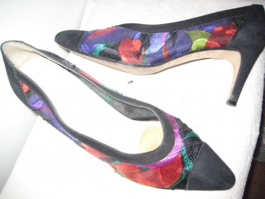 Black & Multi-color Suede & Fabric Pump Pazzo PUmps any occassion! Med  sZ 7.5