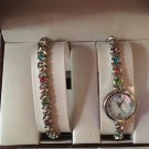 Multiple Color Bracelet W/matching Watch  silver colored  w/latch hook closure