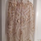 Sequin and bejeweled Creamed and Gold Swing Coat