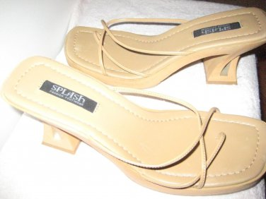 SALE!!!!!!!!!!!! Beautiful TAN mules  with a decora tivtSHOES for any occassion!